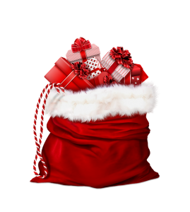 Red Santa's sack filled with presents