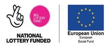 National lottery fund logo and European Social Fund logo