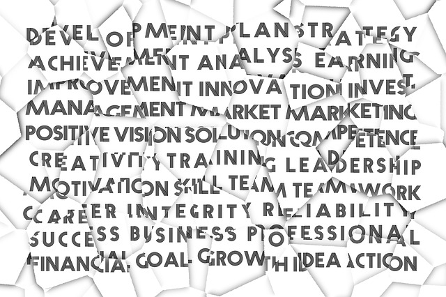 Cartoon drawing of scrunched up paper with business orientated wording