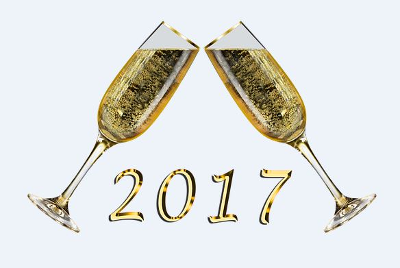 Champagne Glasses with 2017 in large gold letters