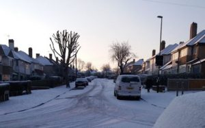 Photo of Croydon Roads at daybreak on March 19th 2018, snow and ice