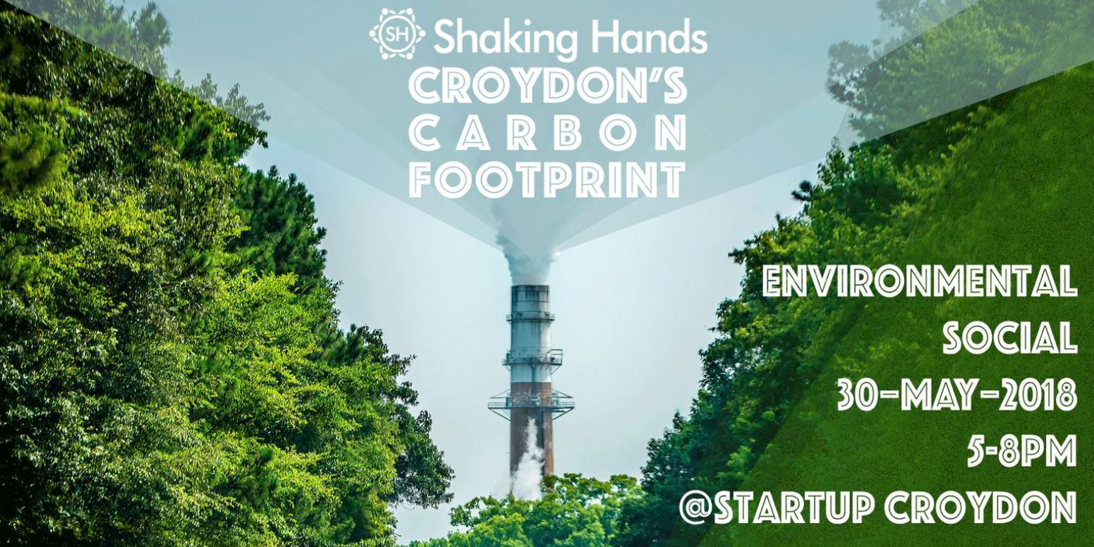 Shaking Hands Croydon, official banner for the Environmental Social event on 30th May at Weatherill House. Featuring an industrial chimney spewing smoke in the middle of a glade of trees