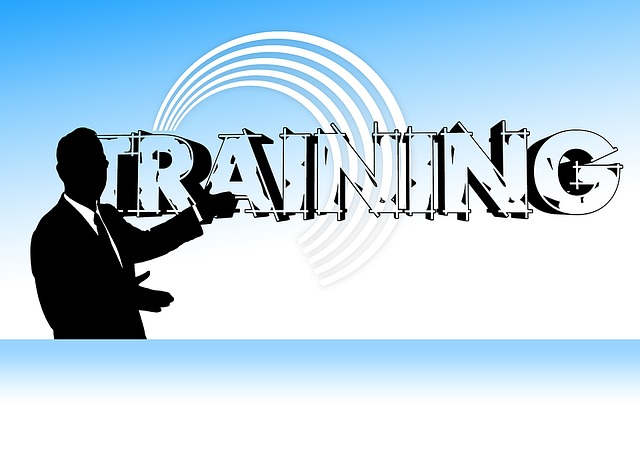 """Shadow image of a man against a blue and white back ground with the word """"training"""" behind him"""