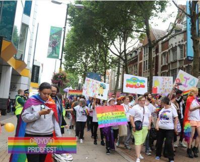 Photo of last year's Pridefest parade in Croydon