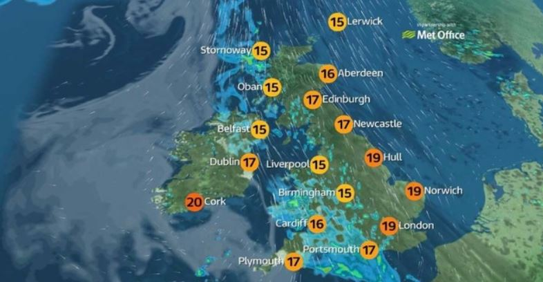 Weather map of the UK showing partly sunny and partly rainy weather