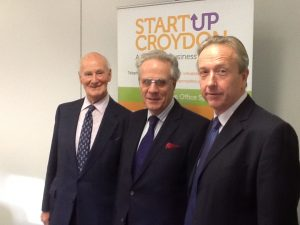 Photo of David Robinson, previous Chairman, Fintan O'Toole, current Chairman and Geoffrey Dove who has been appointed Lifetime Presidency of StartUp Croydon